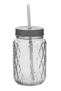 Bloomingville glaskrukke med sugerør